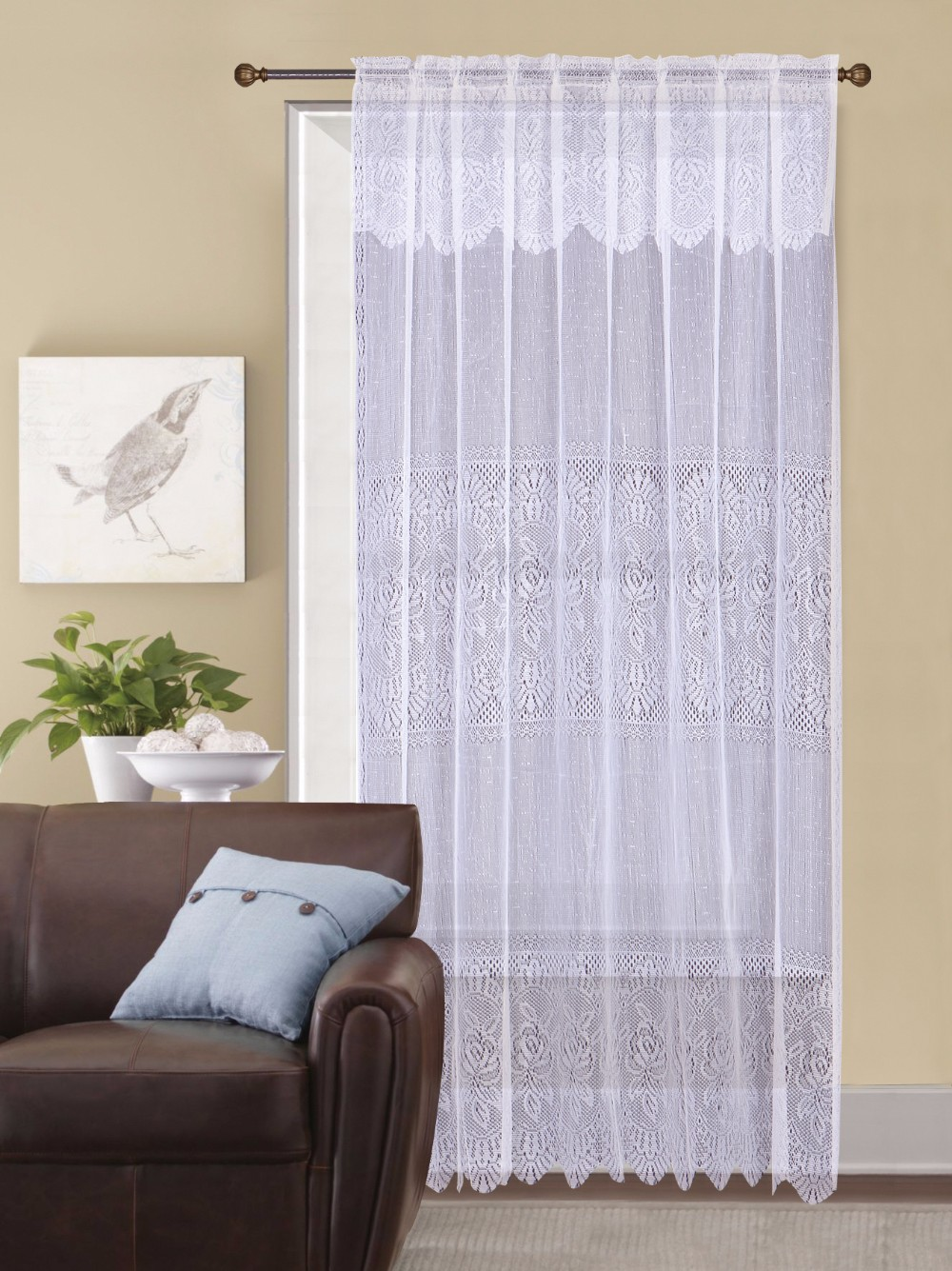 1PC 100% Polyester Flower Voile Beautiful Macrame Embroidery Curtain