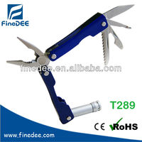T289 10 in 1 Stainless Key Chain Wire Cutter Flashlight Multi-function Tool Kit