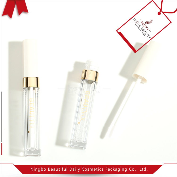 Top sale cheap custom 5ml pearl white square shae lip gloss bottle/vial/containers/tube/packaging