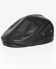 Men newsboy cap peaked retro beret visors leather flat cap wholesale