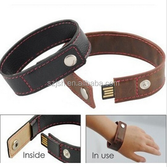Popular Leather Wristband Shape USB Flash Stick with Customize Logo For Giveway