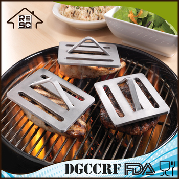 3-Piece BBQ Tool Cast Iron Grill Press,Stainless Steel Meat Press