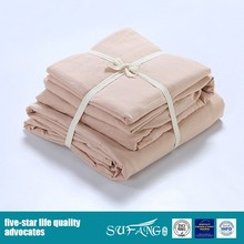 Vintage Pink Cotton Soft Pure Natural Bed Sheet Designs Solid Color Bedding Set