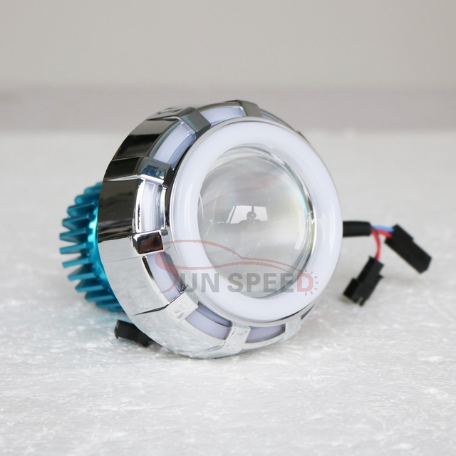 C.R.E.E super motorcycle led headlight projector lens with double COB angel eye, red blue demon eye