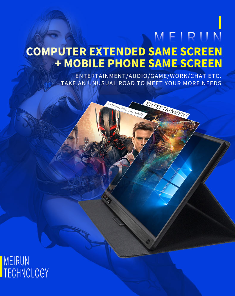 2019 New Design 15.6 inch capacitive screen IPS panel portable touch monitor