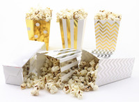Metallic Gold Silver Party Popcorn Box/Wedding Favors Candy Boxes/Baby Shower Decorations Popcorn Box