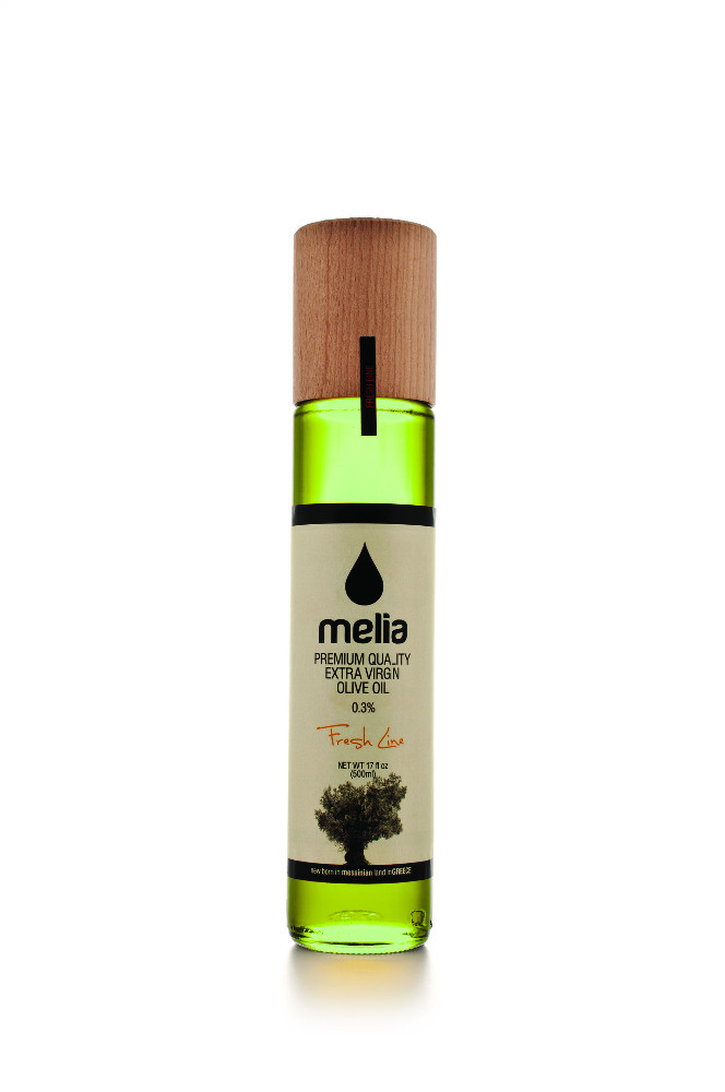 Greek Extra Virgin Olive Oil Gmo Free Freshness guarantee ''Melia Fresh'' in Premium Wooden Glass Bottle