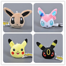 Factory price 7cm Cute Plush Toy Pokemon Go Anime Figure Pikachu Eevee Plush keychain