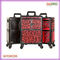 Animal pattern pvc surface aluminum professional cosmetic trolley case