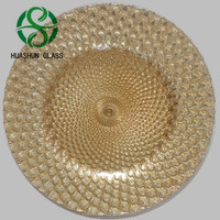 Hot Selling Newest Elegant Gold Peacock Glass Wedding Charger Plate Wholesale