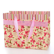 SHOPPING BAG big pink drawstrings red little flowers pink edge paper shopping hand bag for customer in France