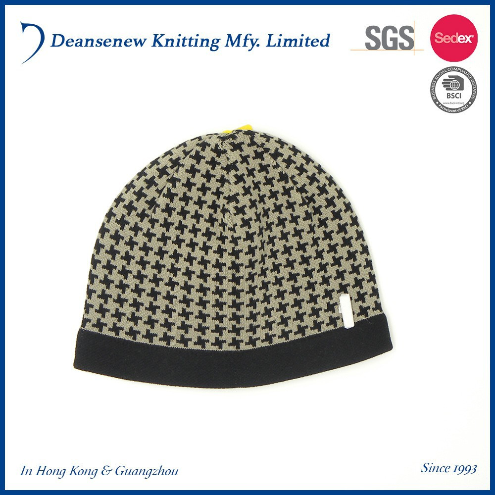 New Design Fashion Cheap 100% Cotton Warm Jacquard Winter Warm Adult Unisex Men Women Teen Noir Knitted Beanie Hat