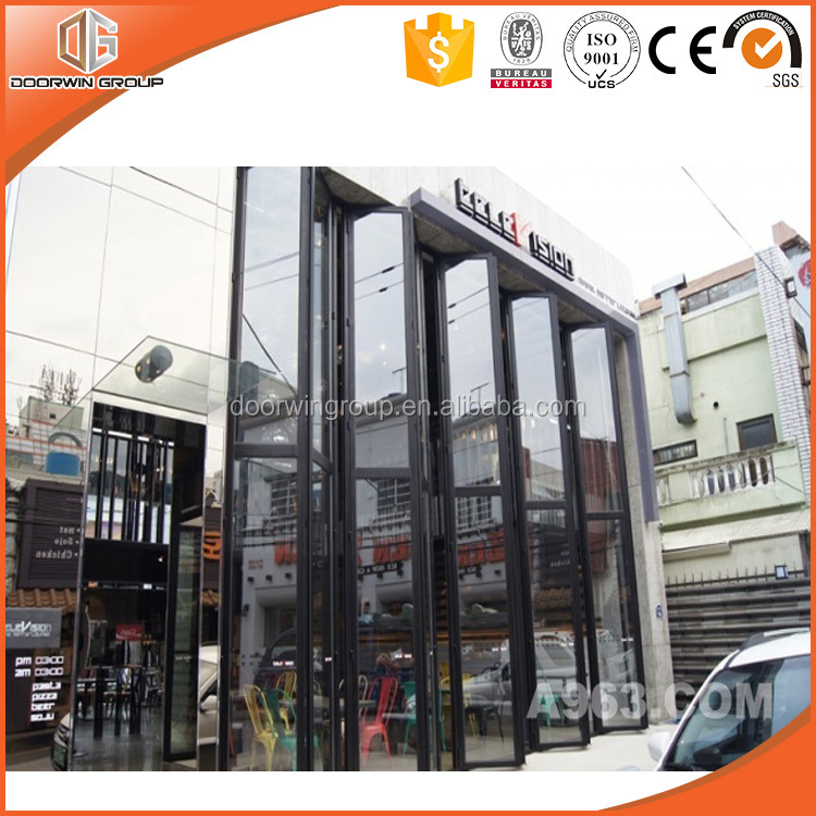 Double glass aluminum folding door