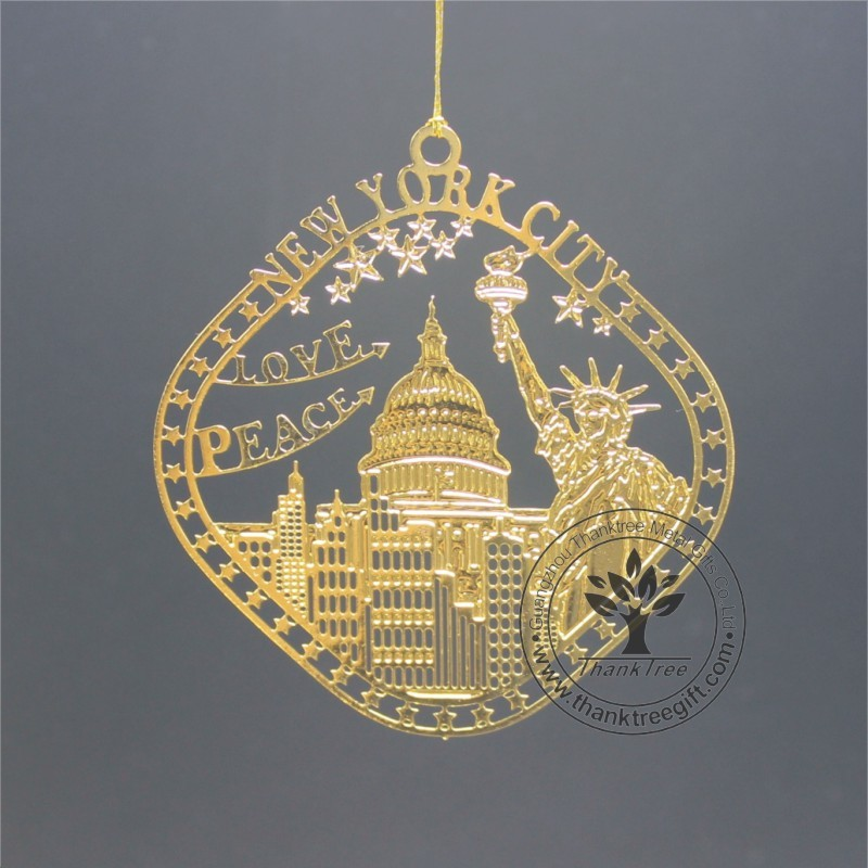 United State custom brass ornament with The Statue of Liberty cut out