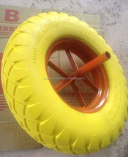 PU solid rubber wheel 4.00-8 16*4""