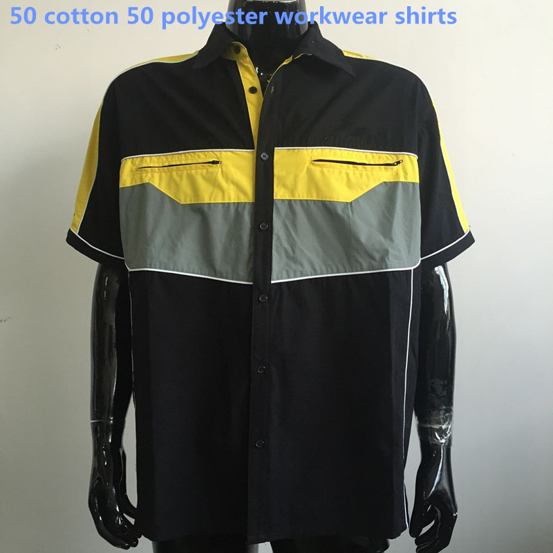 50 cotton 50 polyester workwear shirts cheap custom logo