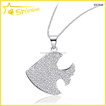 SN7848 lovely 925 sterling silver fish pendant rhodium plating cz stones paved animal pendant