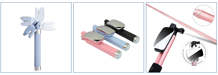 Wholesales Colorful MINI  Mobile Phone Stainless Steel Flexible Wired Tripod selfie stick monopod