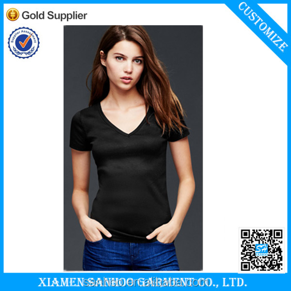 100 Cotton Blank Black V-Neck T Shirt Women Solid Color Ladies Tshirt Softness Cheap From China Manufacturer OEM Service
