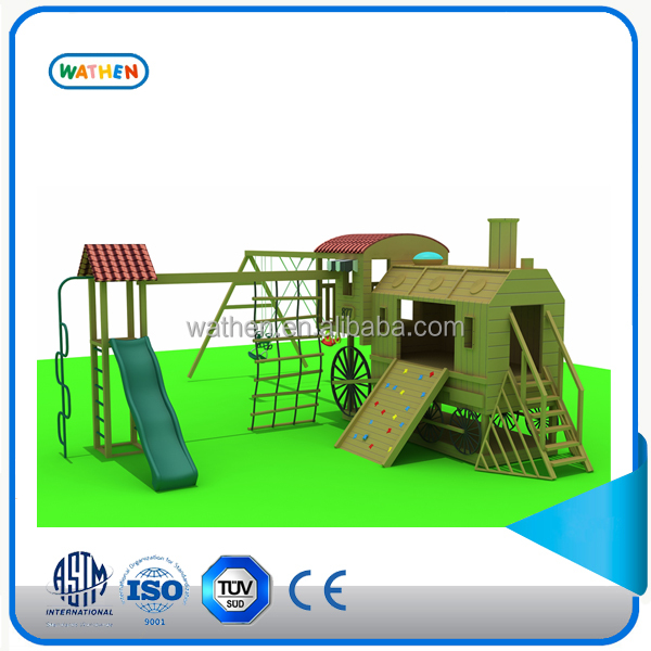 2016 kids outdoor wooden playground,conbine slides ,swing,climbing wall
