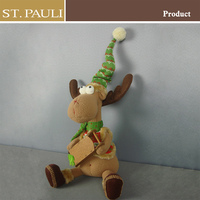 30.5cm Tall fabric doll discount brown color holiday gift christmas reindeer crafts
