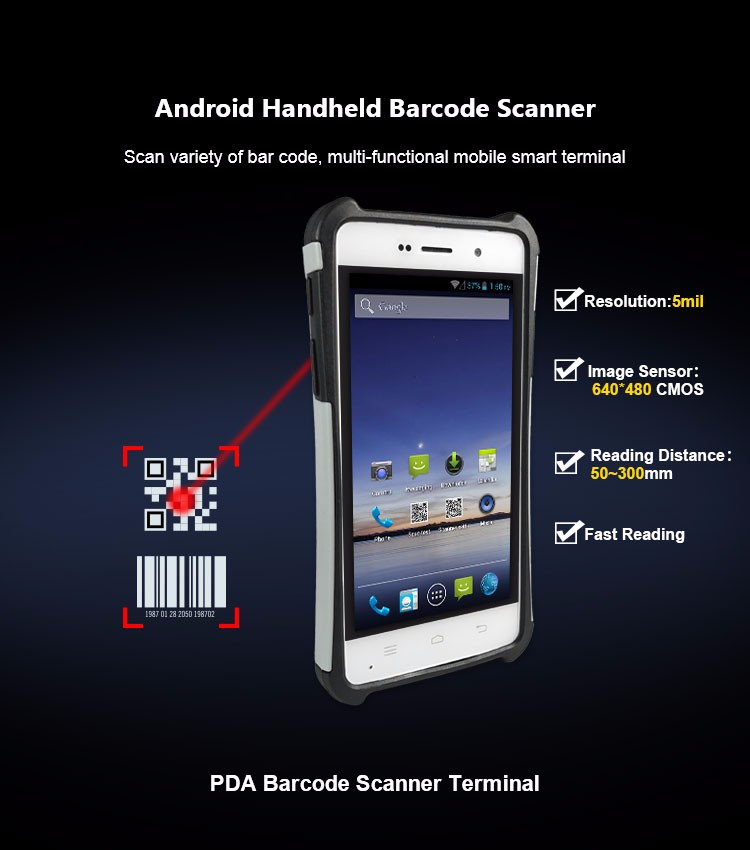 Handheld Android Barcode Scanner PDA with RFID WIFI 4G Bluetooth NFC