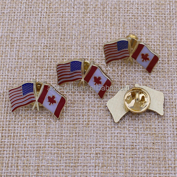 China Factory Iron USA And Canada Gold National Flag Pin