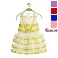 hot sale frock design girls dresses the most beautiful flower girl dresses blue stripe dress and necklace decoration