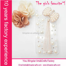 hot selling alloy pearl bow rhinestone cover for Iphone 4/4s/5/5s/6/plus