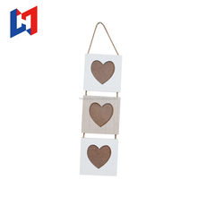 Light wooden hanging 3 layer picture photo frame