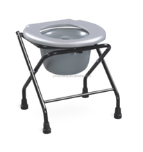 Steel frame foldable commode patient toilet chair for disable