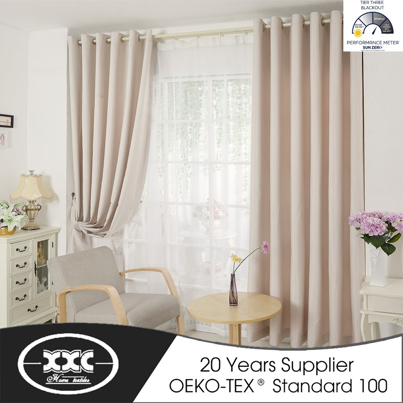 100% Polyester China Manufacturer Hot Sale Faux Linen Hotel and Home Window blackout Curtain Fabric