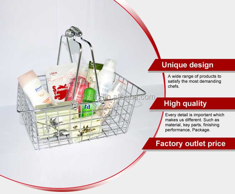 double handles metal mesh shopping basket
