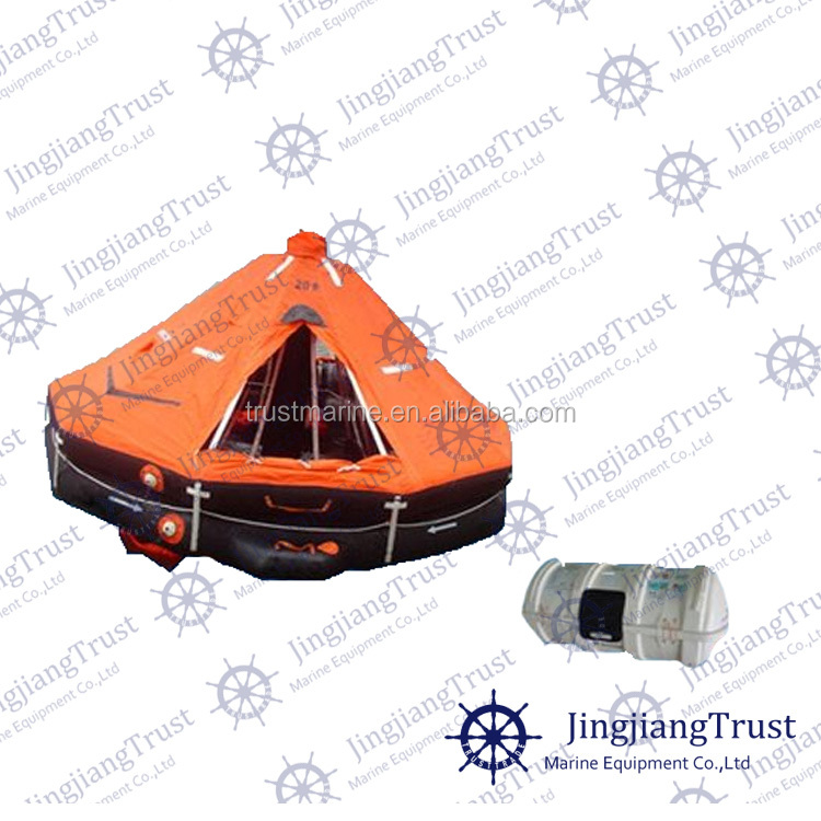 Davit launched rigid type cheap inflatable life raft buy for Four man rubber life craft