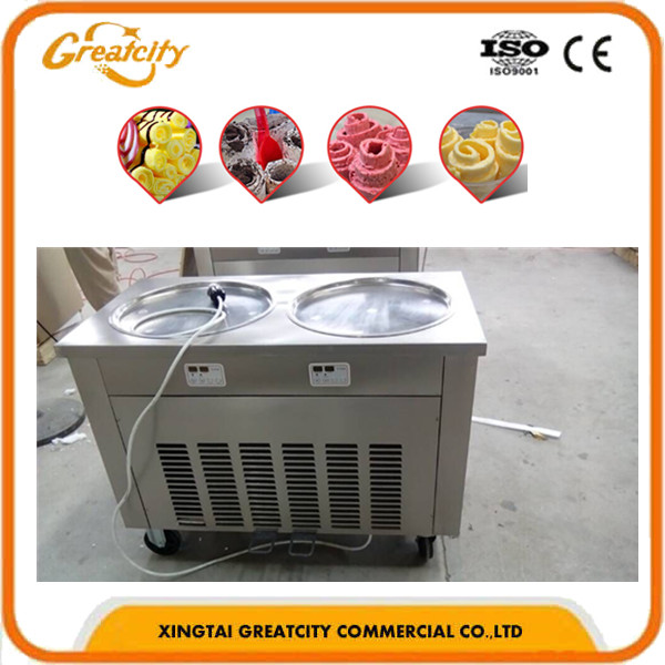 20kg/h Production 2 pan durable fry ice cream machine Made in China