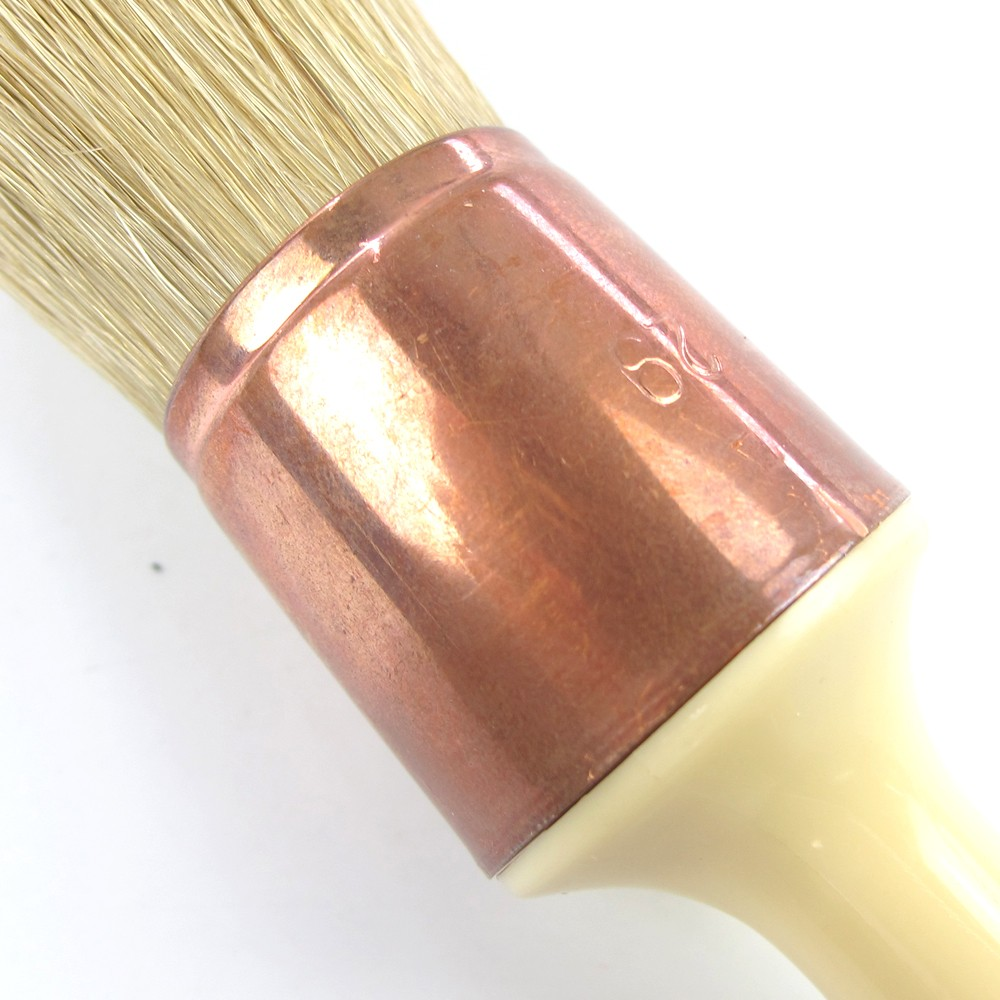 Lary Long Wooden Handle Natural Bristle Round Brush Paint