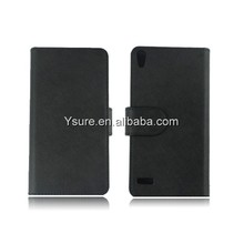 Black Leather Flip Case for Lenovo k900 with ID Card slots