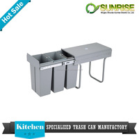 handmade plastic pull out kitchen cabinet waste bin
