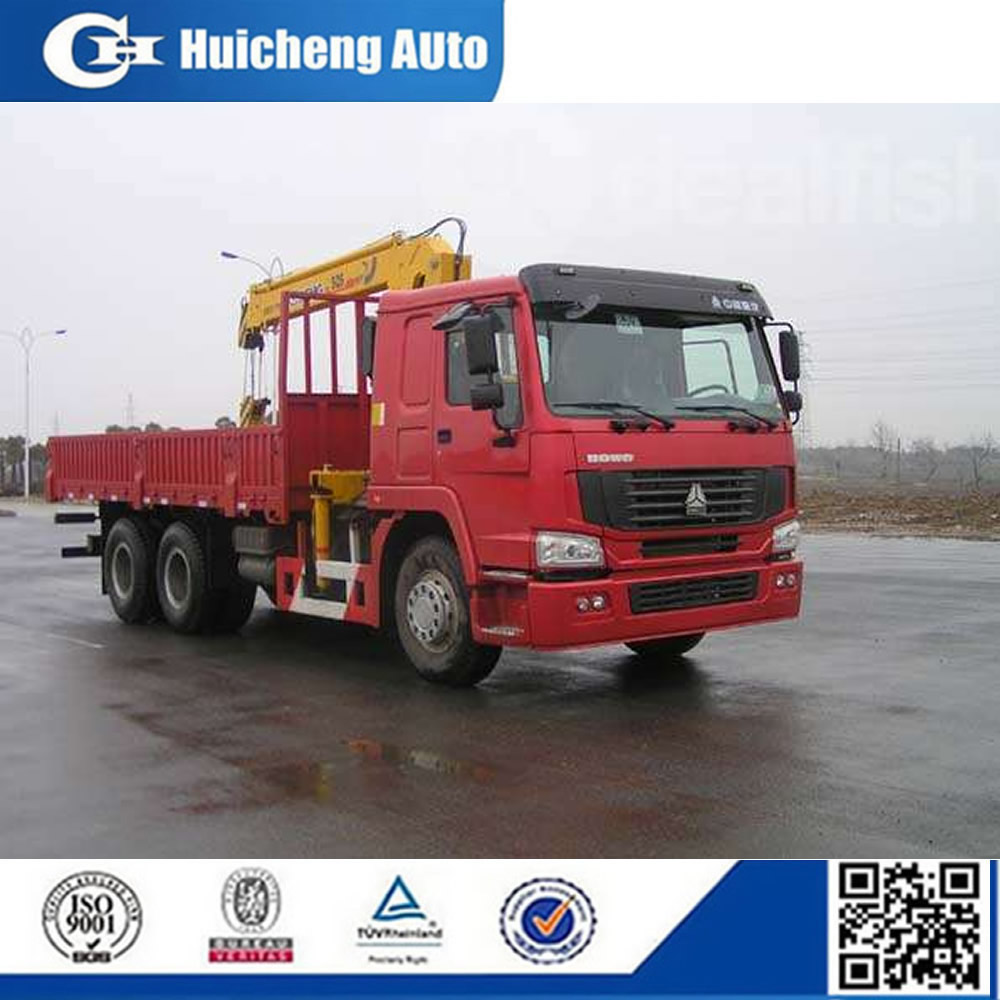 HOWO truck with XCMG Straight Boom Crane for sale