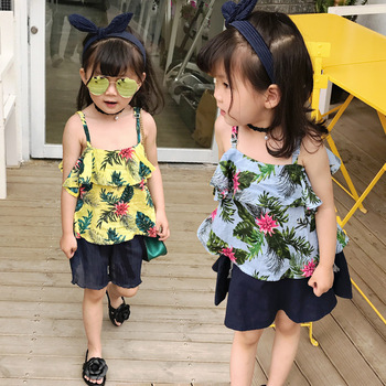 S17106A 2017 newest wholesale children blouse girls tank tops