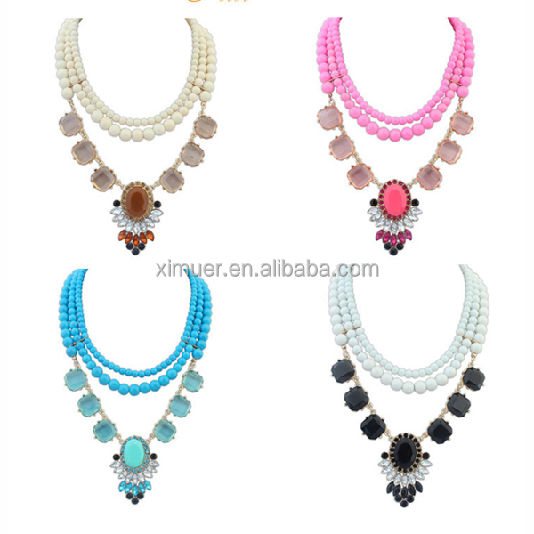 Wholesale design multicolor layered bead chain necklace