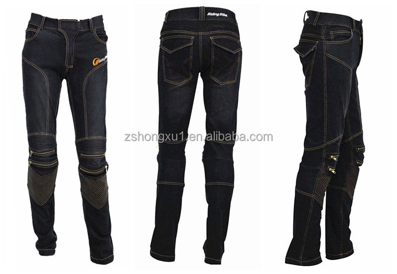 custom motocross pants manufacturer protector pockets knee straight fit motorcycle jeans protective pants
