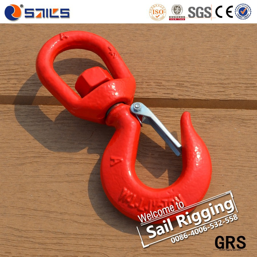 Rigging red painted forged swivel lift hook