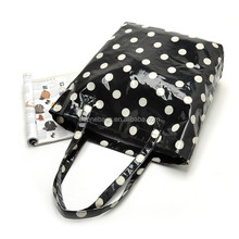 PVC Laminated Shopping Bag Classtic Polka Dots PVC Coating Tote Bag