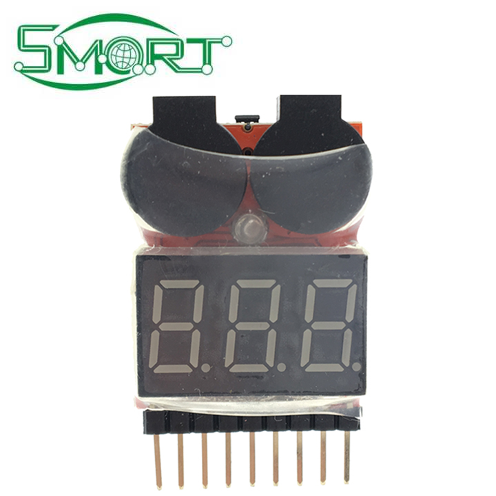 Smart Electronics~1-8S Lipo Li-ion Fe Battery Voltage 2IN1 Indicator Tester Low Voltage Buzzer Alarm For RC Car Boat LED 3.7-30V