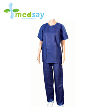 With round neck disposable protective non woven scrub sets