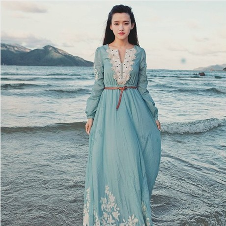 B10376A Lady Maxi linen dress summer beach long dresses