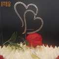 2018 new products gold plated wedding heart shaped cake toppers