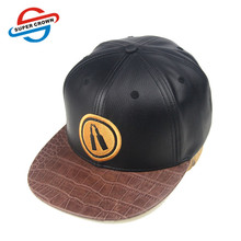 SUPER CROWN China Factory 3D Embroidered Black Leather Snapback Cap