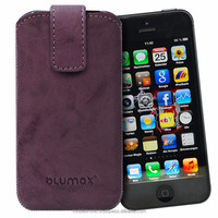 Geniune Leather case for iPhone 5 / iPhone 5s Slide Washed Purple Cow Leather